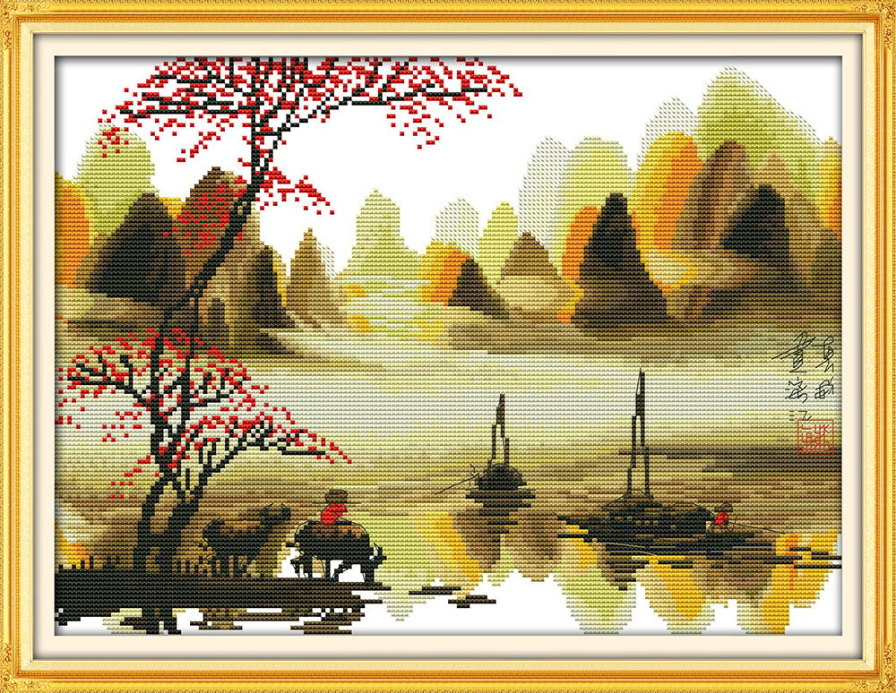 Poetic lijiang Li River (2) cross stitch kit Chinese Aida count 18ct 14ct 11ct printed embroidery DIY handmade needlework decor