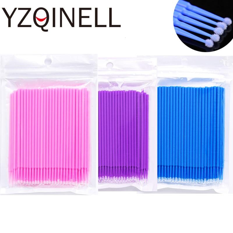 100pcs/Lot Disposable Micro Brushes Swabs Eyelash Extensions False Eyelash Mascara Wands Individual Eyelash Kit Make Up Tools