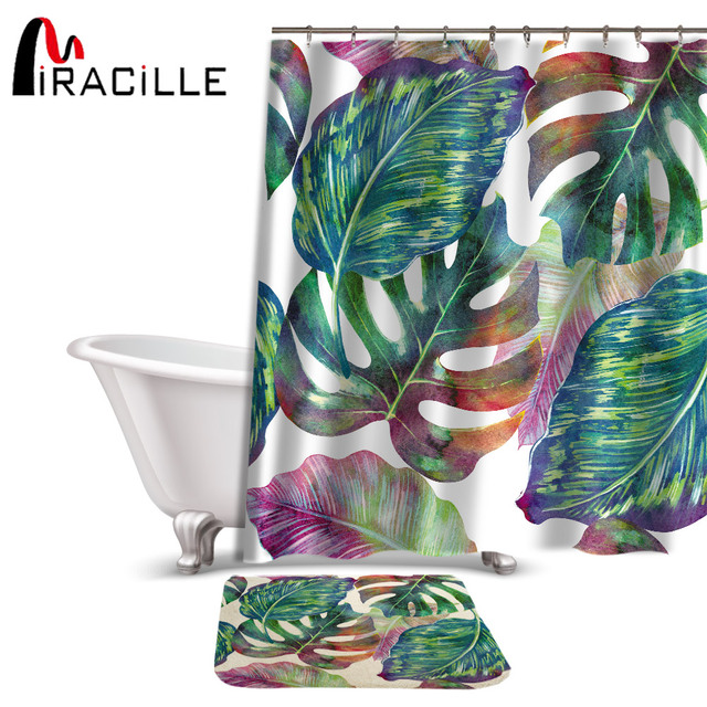 Miracille Creative Green Tropical Plant Printed Shower Curtain Set Waterproof Polyester Fabric And Anti