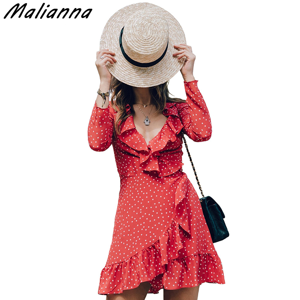 2017 New Fashion V Neck Ruffle Star Print Red Dress Women Long Sleeve Chiffon Wrap Dress