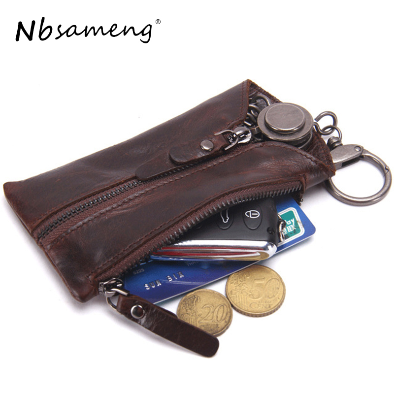 Фото Genuine Leather Vintage Key Holder Men Keychain Covers Zipper Keychain Car Case holder Men Key Holder Housekeeper Key Organizer