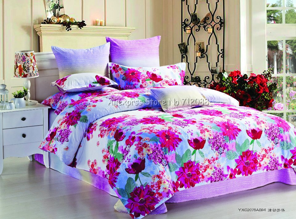 Hot Sale Bright Color Red Floral Full/queen/king Reactive Sanding Bedding 4pcs Comforter Quilt