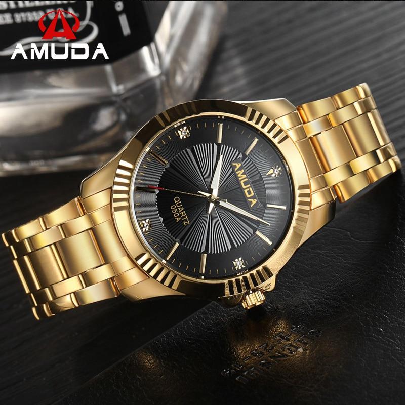 popular gold watch men buy cheap gold watch men lots from natate amuda clock gold fashion men watch full gold stainless steel quartz watches wrist watch whole