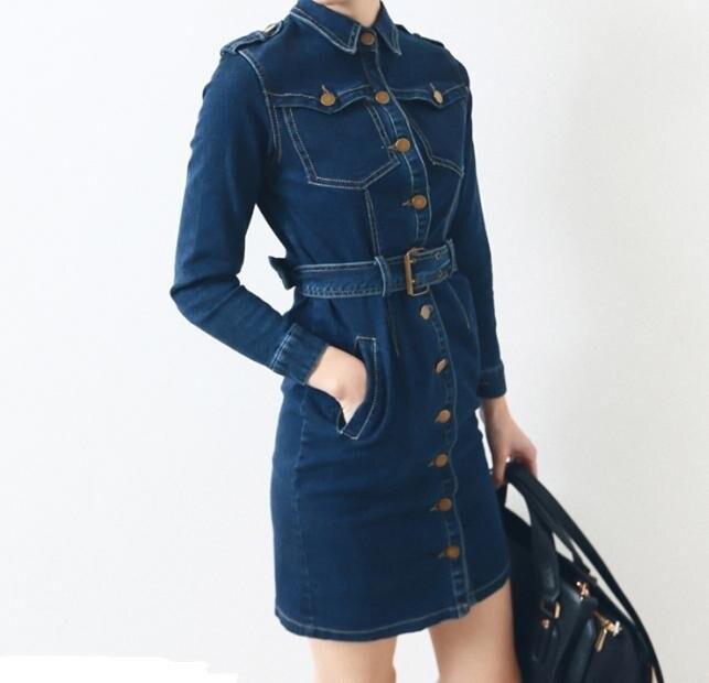 Для женщин Мода Платья для женщин с отложным воротником с длинными рукавами платье из джинсовой ткани с поясом платье карандаша Синий Беспл...