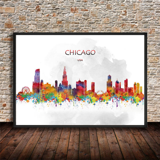 Abstract city painting chicago usa printings watercolor art print poster wall sticker living room cafe bar