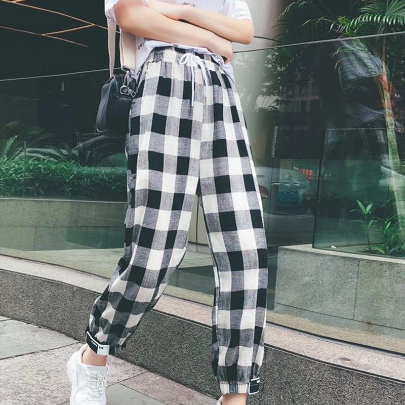 Autumn Plaid Pants Women Mid Waist Korean Style Straight Ankle-Length Pants Drawstring Loose Pockets Trousers Female