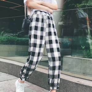 SILVERCELL Korean Women Plaid Loose Trousers Female 2018