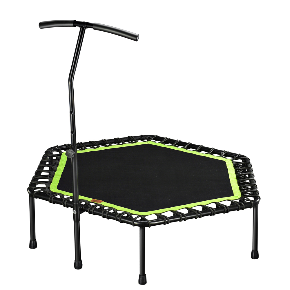 48 Inch Hexagonal Muted Fitness Trampoline with Adjustable Handrail for Indoor GYM Jump Sports Adults Kids Safety 2