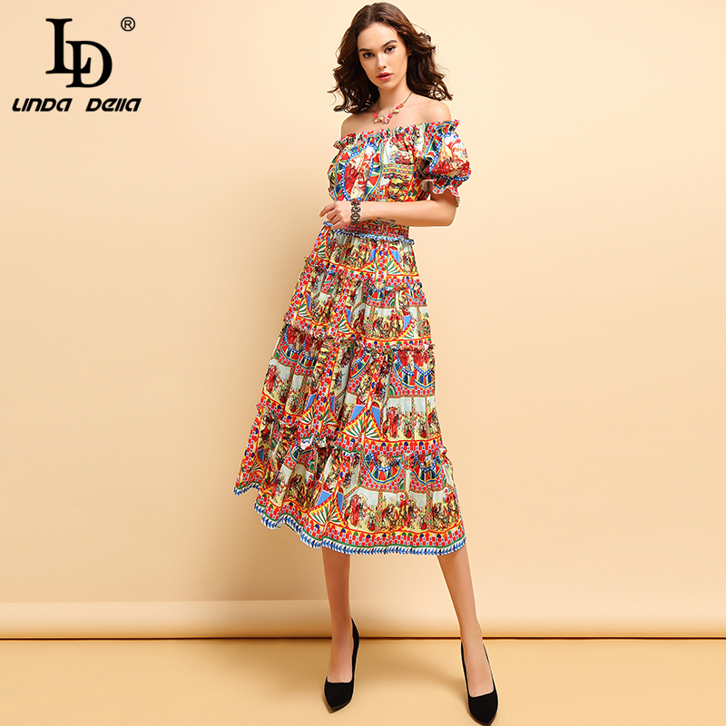 LD LINDA DELLA Fashion Spring Summer Dress Women's Off shoulder Draped Character Printed Elegant Vintage Elastic Waist Dresses