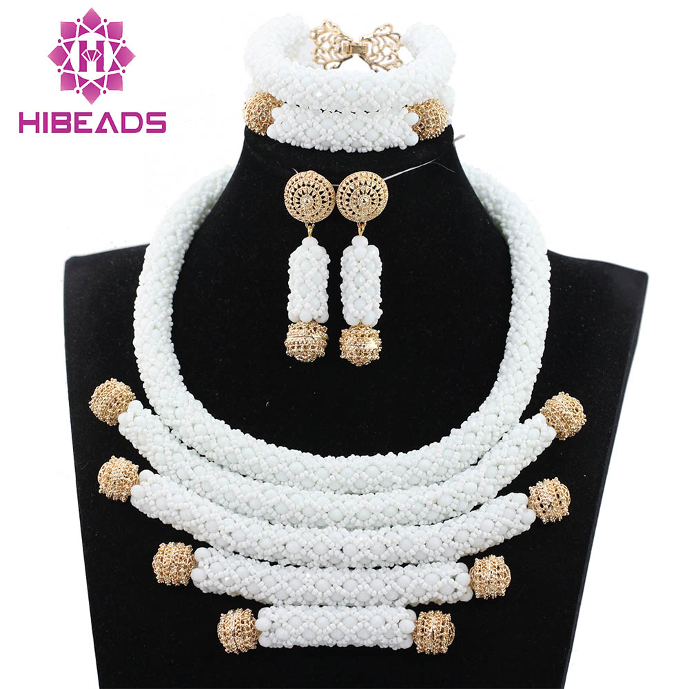Nigerian Wedding Gifts: African White Beads Jewelry Set Chunky Crystal Bib