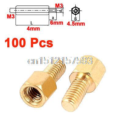 100Pcs M3 Thread 4+6mm Screw Threaded Brass Hex Standoff Spacer for PCB Board 50 pcs m3 7mm 6mm male female thread nylon pcb hex stand off screw spacer