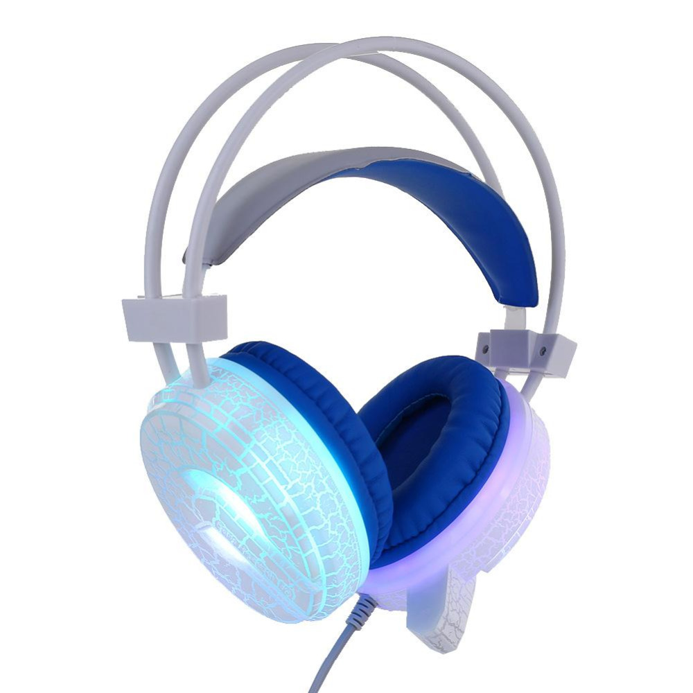 2017 USB 3.5mm Wired LED Luminous Crack Gaming Headphone Earphone w/ MIC For PC each g8200 gaming headphone 7 1 surround usb vibration game headset headband earphone with mic led light for fone pc gamer ps4