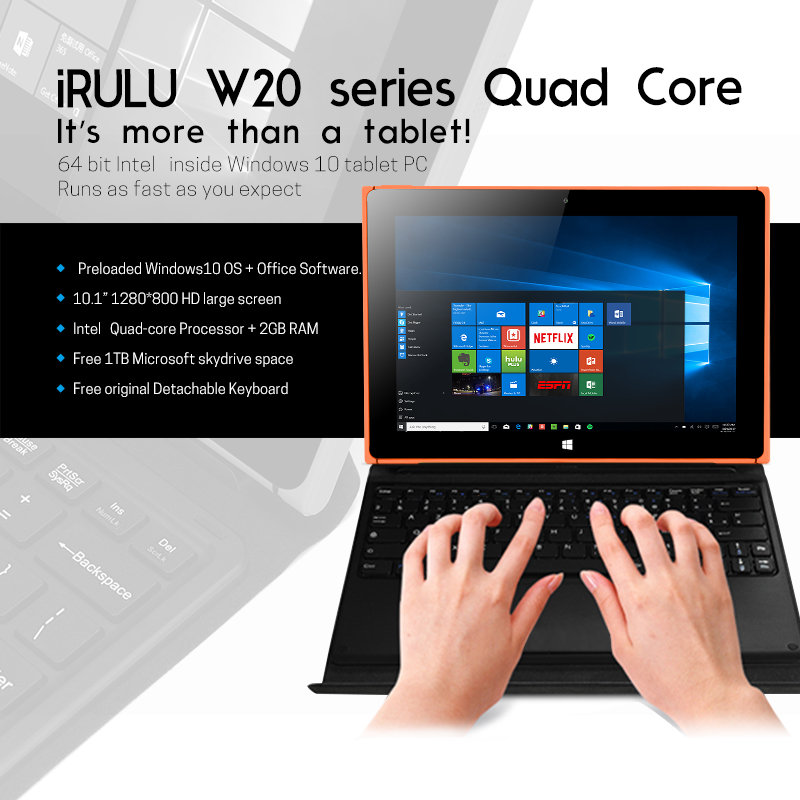 iRULU Walknbook Best Tablet Laptop Hybrid with Windows 10 Quad Core lntel Procesor 2 in 1 notebook computer with 32GB storage