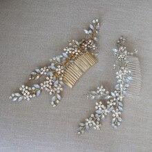 Büyüleyici Opal kristal başlığı kadınlar için altın ve gümüş renk gelin saç tarak el yapımı düğün aksesuarları