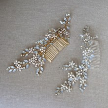Charming Opal Crystal Headpiece For Women Gold and Silver Color Bridal Hair Comb Handmade Wedding Accessories