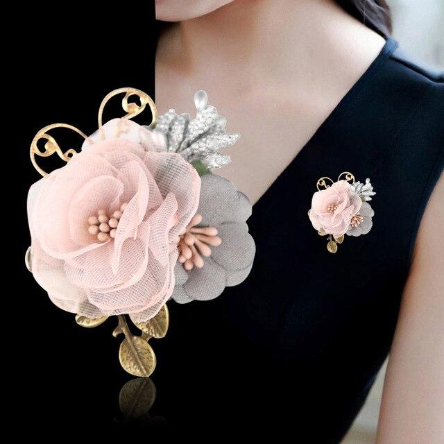 Я-Remiel корейской ленты ткани брошь корсаж цветок для Для женщин кардиган шаль Pin платье и броши Костюмы аксессуары