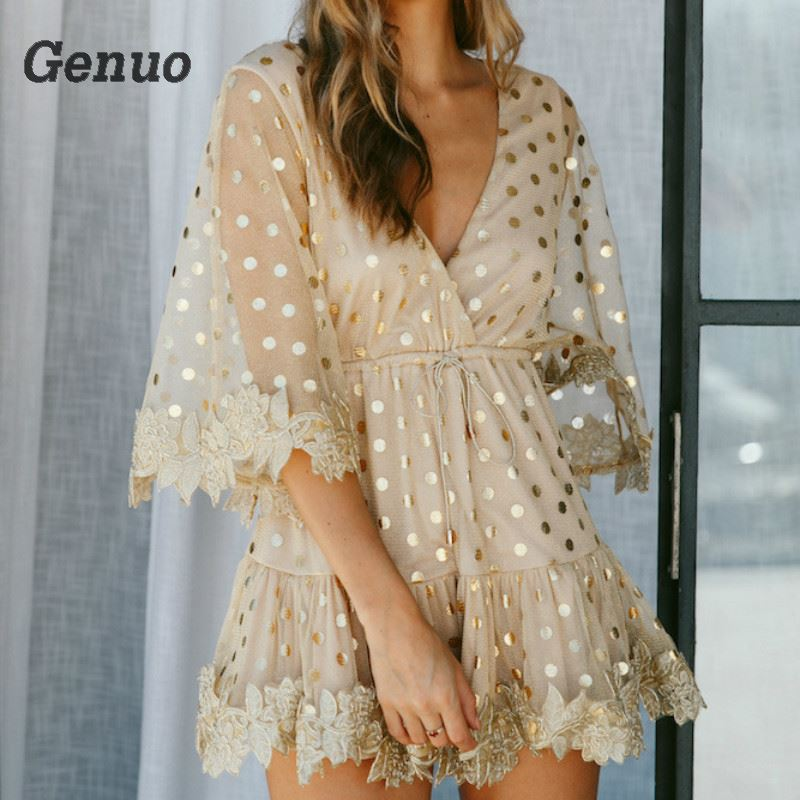2018 Sexy Party Dresses Women Gold Sequins Mesh Mini Dress Casual Beach Summer Dress Clubwear Genuo Luxury Short Dress Vestidos in Dresses from Women 39 s Clothing