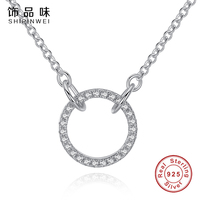 Shipniwei Authentic 925 Sterling Silver Round Shape Pendent Necklace With Clear CZ Link Chain Charm Necklaces