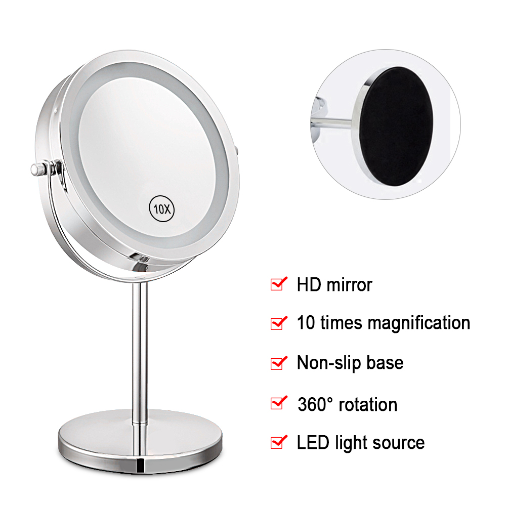 7 Inch 10x Magnification Circular Makeup Mirror Dual 2 Sided Round Shape 17 LEDs Rotating Cosmetic Mirror Stand Magnifier Mirror Зеркало