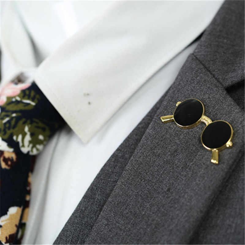 ミニサングラスブローチファッションの人気パーティースーツシャツ装飾合金ピンドロップオイルゴールドシルバーメガネピン男性の女性のため子供