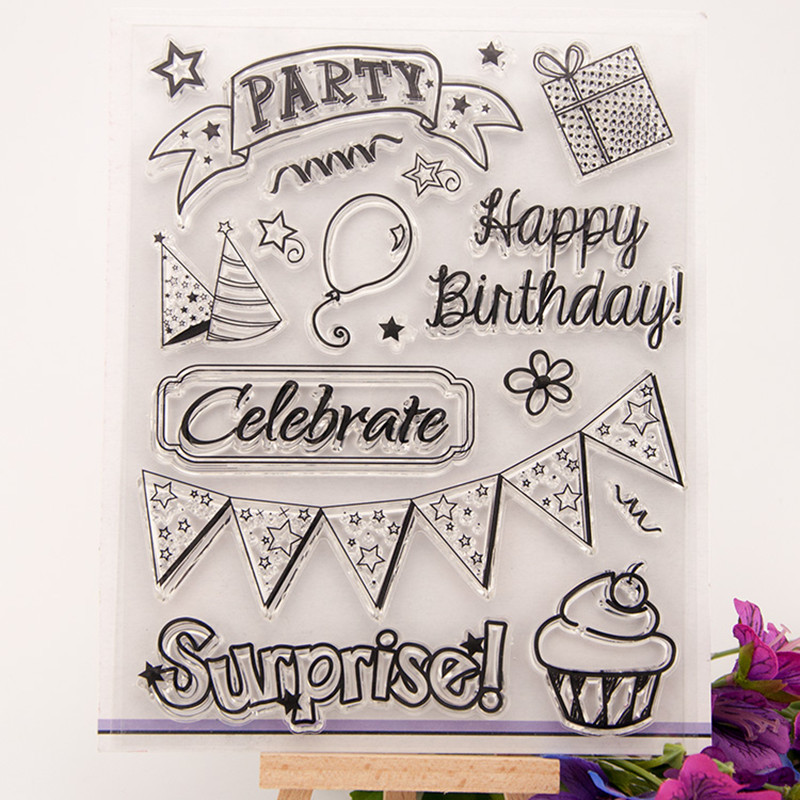 celebrate Happy birthday Scrapbook DIY photo cards rubber stamp clear stamp seal transparent  Chapter T0022 free shipping sweet berry go and celebrate happy team