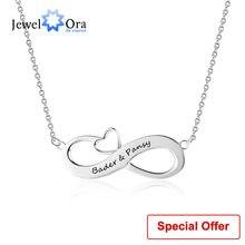 2076514c2f96 Infinito amor joyería con corazón personalizado nombre collar 925 plata  esterlina collares y colgantes (joyería NE102395)
