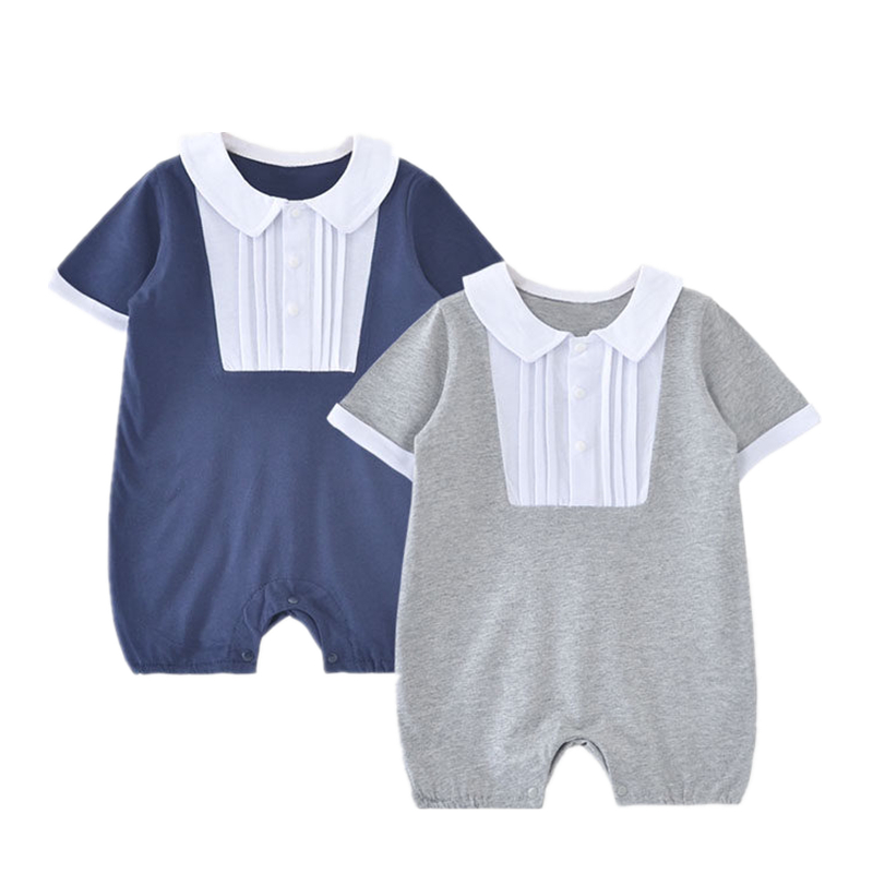 2017 Summer Baby Girls Romper Short Sleeve Infant Jumpsuits Cotton Turn-down Collar Newborn Fashion Rompers Baby Boys Clothes 2017 baby girl summer romper newborn baby romper suits infant boy cotton toddler striped clothes baby boy short sleeve jumpsuits