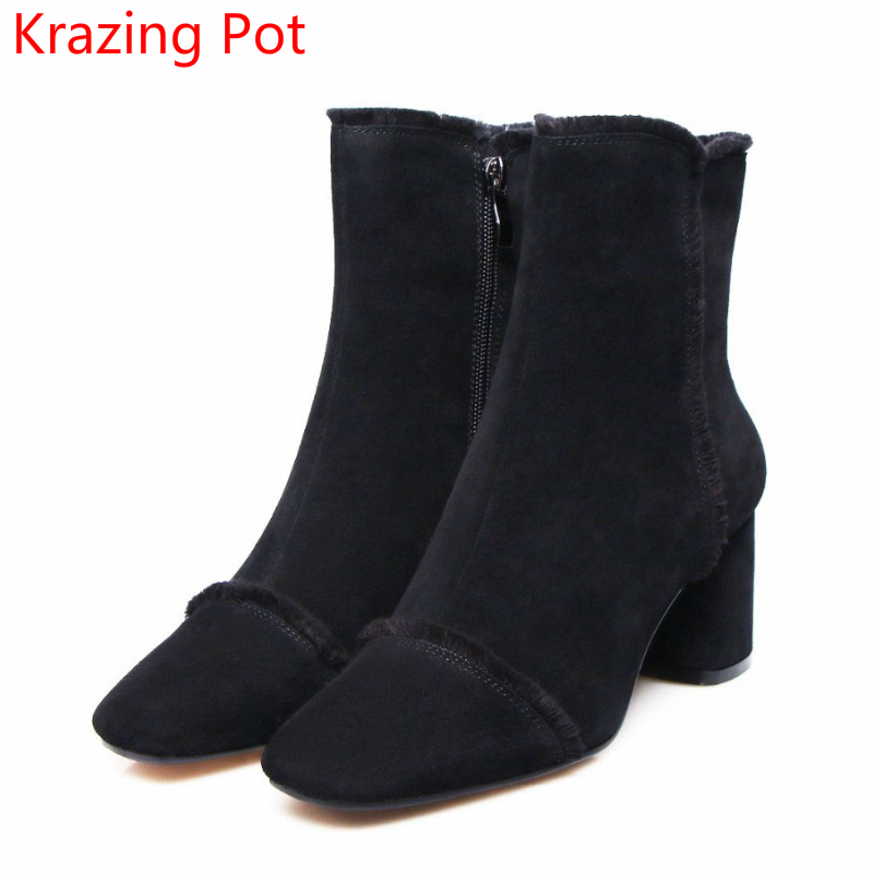 2018 Superstar Cow Suede Streetwear Square Toe Zipper High Heels Winter Boots Keep Warm Office Lady Ankle Boots for Women L50 2018 fashion winter shoes cow suede high heels solid pointed toe zipper handmade warm european style sweet women ankle boots l26