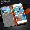 KISSCASE For iPhone 5 5S SE Stand Wallet Case Flip Cloth Leather Case For iPhone 5 5S SE 6 6S Plus 7 Plus Hit Color Cover Bag