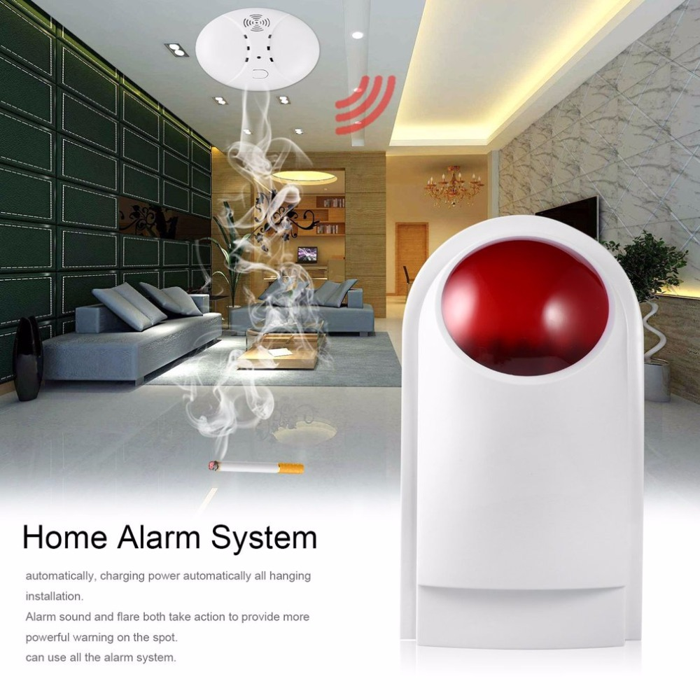 LESHP 4pcs/set Outdoor Waterproof Wireless Smoke Detector Strobe Siren with Backup Battery For Home Alarm Systems Home Security 1 sets wireless waterproof flash strobe siren outdoor waterproof alarma with backup battery for home alarm systems home security