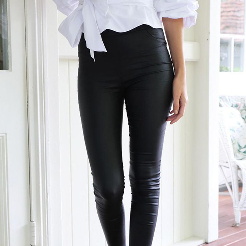 Women's Sexy Wild Pocket Leather Pants Women Female Winter High Waist Pants Leather Trousers Women Skinny Stretch Pencil Pants