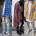 Justin Bieber Striped Shirts Men Hip hop Streetwear High Street Kanye West Plaid Shirts Man 4 Colors Special Fashion Clothing XL