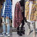 Justin Bieber de Rayas Camisas de Los Hombres de Hip hop Streetwear High Street kanye west moda plaid camisas de hombre 4 colores especiales clothing xl