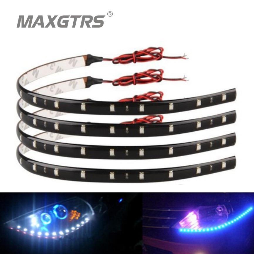 4x 60cm 30cm <font><b>blue</b></font>/green/red/white Waterproof <font><b>Light</b></font> <font><b>5050</b></font> 12 SMD High Power Flexible LED Car Strips DRL Lamp Car Styling
