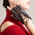 Мода Дамы Овчины Перчатки Женщин Кожаные Перчатки Без Пальцев Кружевные Перчатки Водительские Перчатки Женщин