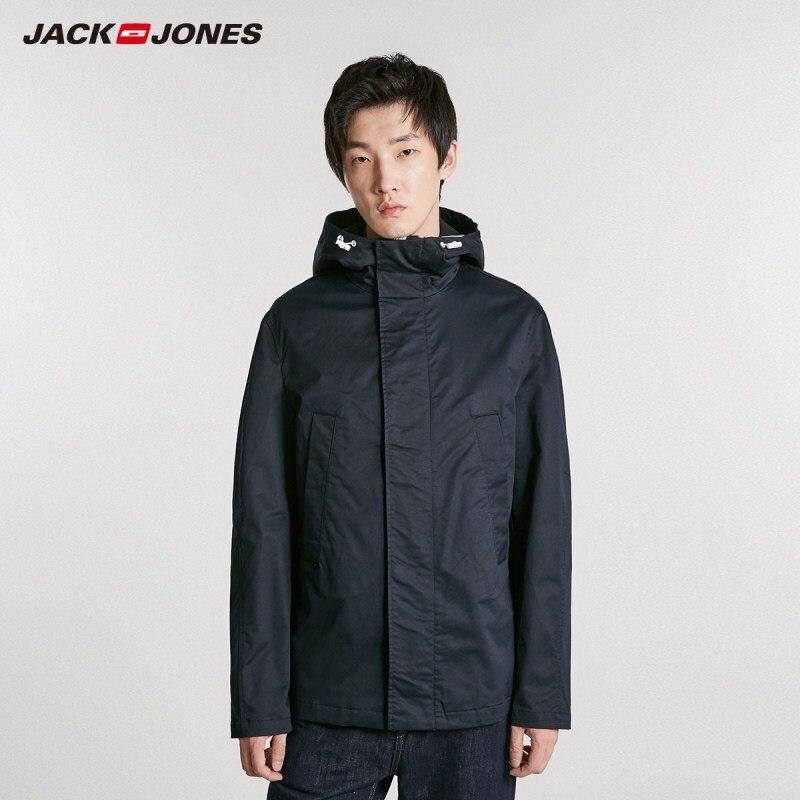 JackJones Men's Hooded Trench Short Coat Stand up Collar Windbreaker Short Jacket Menswear 218421504-in Trench from Men's Clothing    1