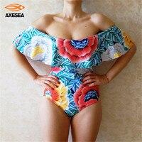 Retro Women Sexy Floral Off Shoulder Swimwear Ruffle Female Bathing Suit Monokini Thong Swimwear Bandeau One