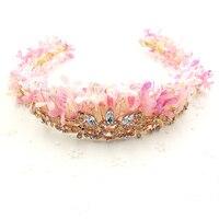 수제 핑크 꽃 크라운 골드 컬러 머리띠 왕관 여성 머리 보석 헤어 밴드 꽃 머리 장식 신부 선물 웨딩