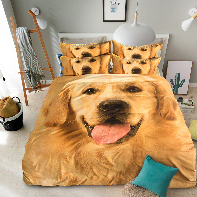 Home Textile 3D Bedding Sets Pet Dog Printed Twin Queen King Size 3/4pcs Bedclothes Duvet Cover Bed Sheet Pillowcase Bed Set