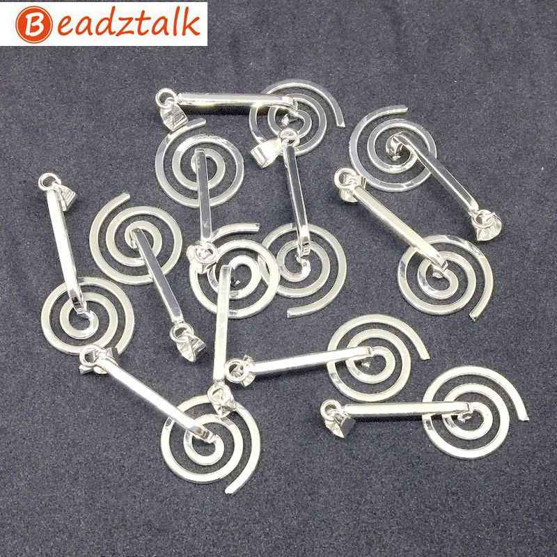Metal Spiral Holder Fit for Stone Round Donut Pendant Necklace Brass Base Silver Coated DIY Hand Made Jewelry