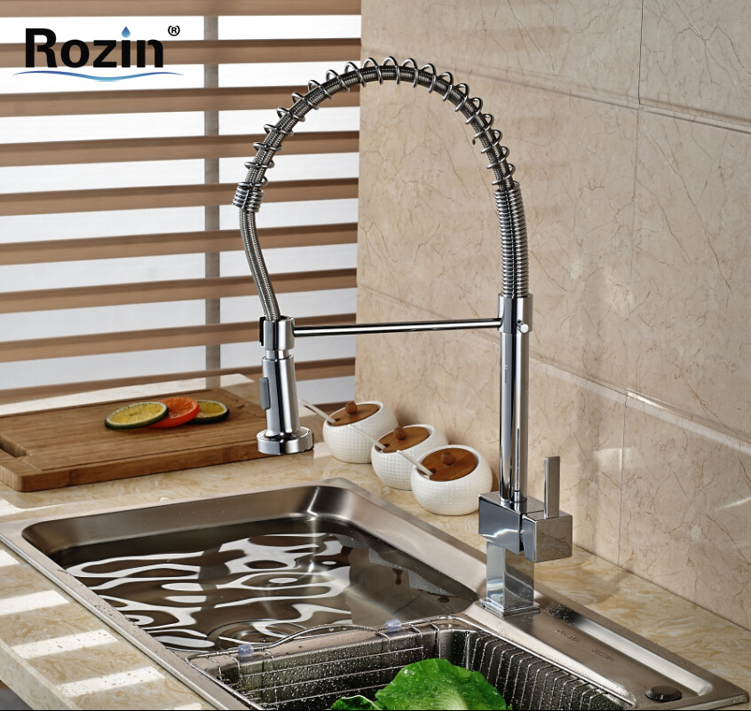 Single Handle Hot Cold Water Kitchen Mixer Tap Chrome Deck Mount Kitchen Bar Sink Faucet Dual