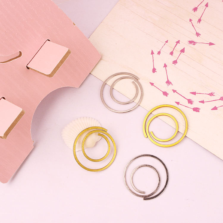 Circle Clip Bookmark Round Cute Paper Clips Decorative Gold Stationery Gold Paper Clips Gold Decor For Office Paper Clips Metal