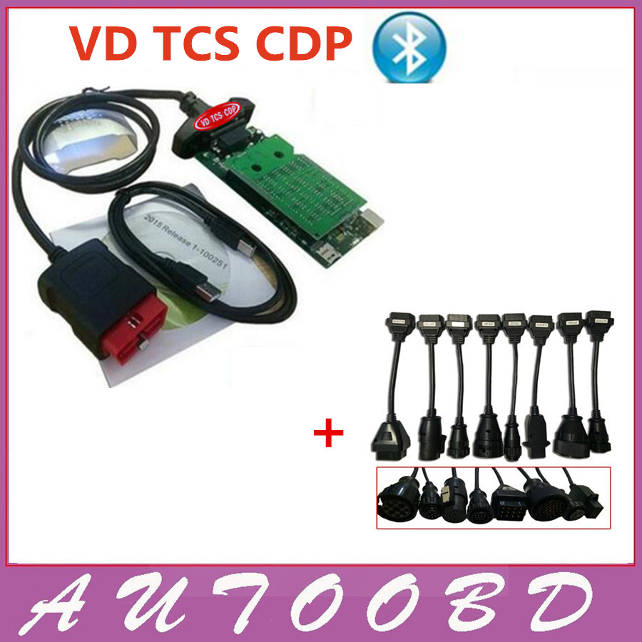 Green Board VD TCS CDP Pro Plus For Cars/Trucks/Generic Auto Diagnostic Tool CDP Bluetooth With 8pcs truck cables DHL Free Ship new arrival new vci cdp with best chip pcb board 3 0 version vd tcs cdp pro plus bluetooth for obd2 obdii cars and trucks