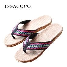 ISSACOCO 2018 Womens Linen Flip Flops Slippers Women Flat Indoor Hemp Non-slip Flax Beach Flop