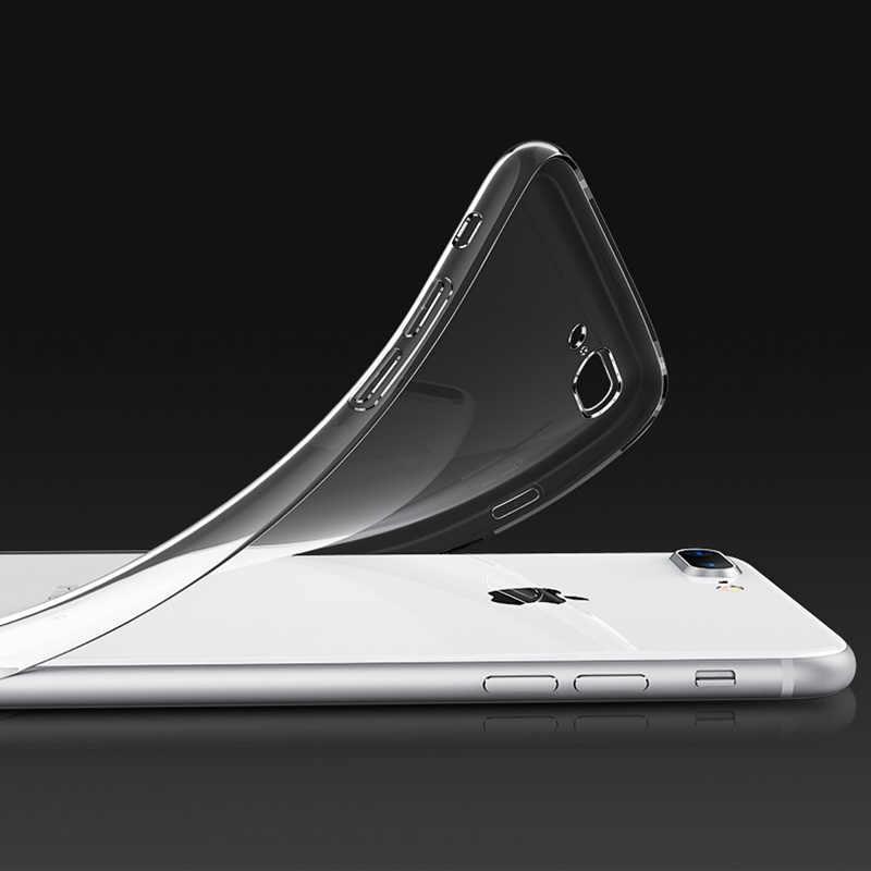 حافظة من السيليكون الناعم لهواتف 7 7Plus 8 8Plus X XS MAX شفافة للهاتف حقيبة لهاتف أي فون XR 5 5s SE 6 6s 6Plus 6sPlus