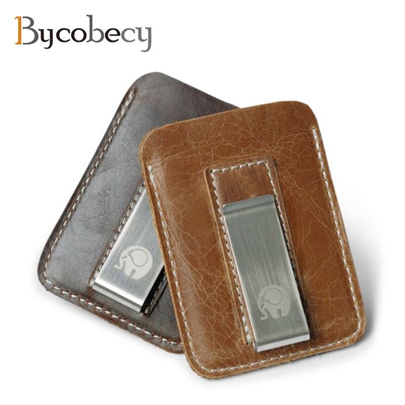 BYCOBECY натуральная кожа карты бумажник из металла Для мужчин карты Pack Slim счета денежных Зажимы для денег тонкий бумажник держатель ...