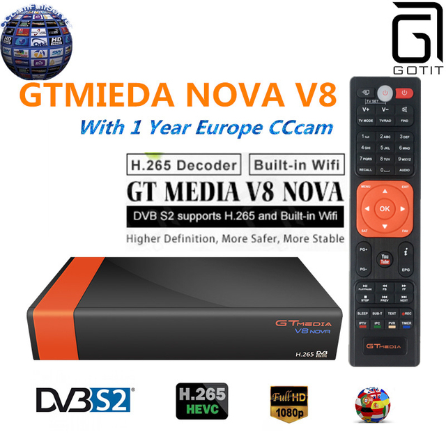 GT Media V8 Nova DVB-S2 Freesat Satellite Receiver V8 Super New Version H.265 WIFI+1Year Europe Spain PT DE PO CCcam TV decoder