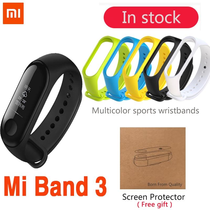 Original Xiao mi mi Band 3 Smart-Armband Armband Band 3 OLED 128x80 Touchscreen batterie 110 mah puls Herzfrequenz Schritt Zeit