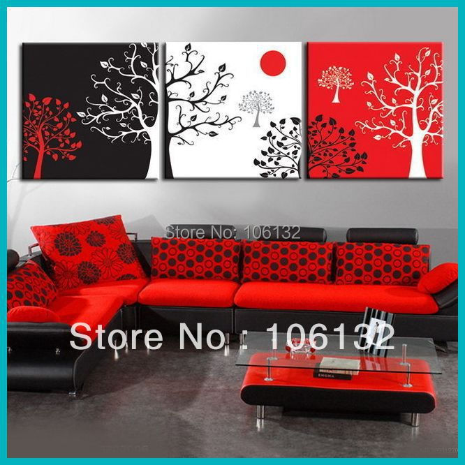 Black And Red Wall Art online get cheap painted wall art with black white red tree