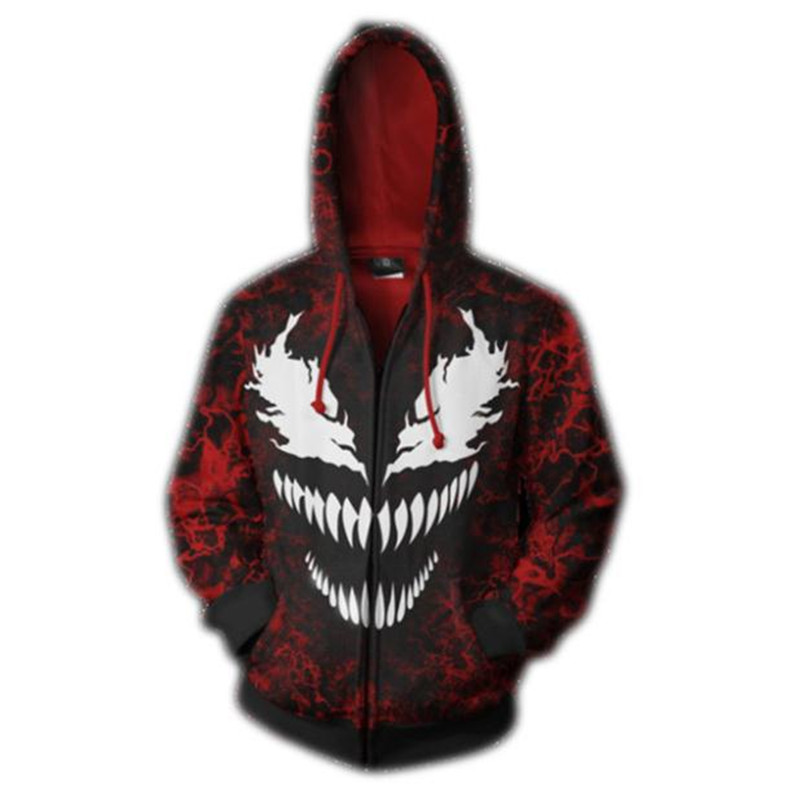 Autumn Winter Venom Cos Hoodies Sweatshirts Tops Cosplay Costumes Anime Christmas Party Halloween Costume For Men